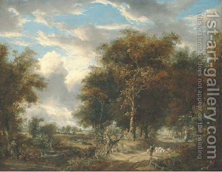 A wooded landscape with a shepherd and sheep on a path by (after) John Berney Crome - Reproduction Oil Painting