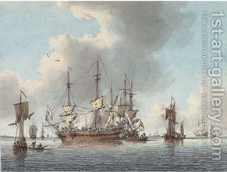Dutch men-o'war preparing to sail from their anchorage by (after) John The Elder Cleveley - Reproduction Oil Painting