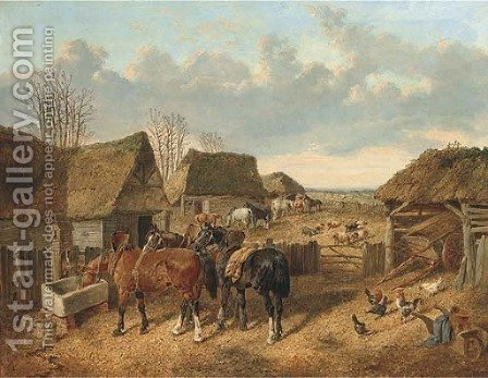 In the farmyard by (after) John Frederick Jnr Herring - Reproduction Oil Painting