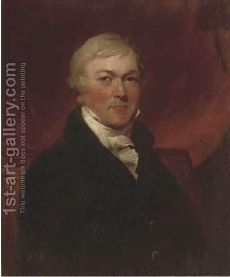 Portrait of a gentleman, half-length, in a black coat and white cravat by (after) Hoppner, John - Reproduction Oil Painting