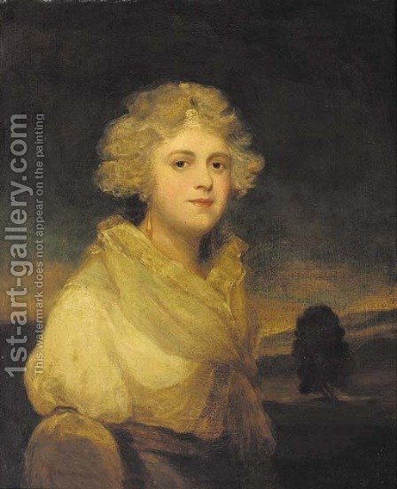 Portrait of a lady, traditionally identified as Miss Abbingdon, half-length, in a white dress, a landscape beyond by (after) Hoppner, John - Reproduction Oil Painting