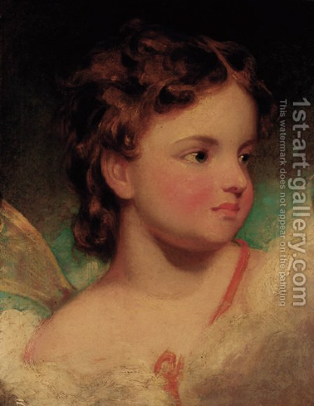 Portrait of a child, head-and-shoulders, as an angel by (after) Hoppner, John - Reproduction Oil Painting