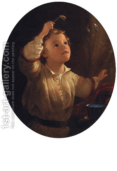Blowing Bubbles by (after) John Morgan - Reproduction Oil Painting