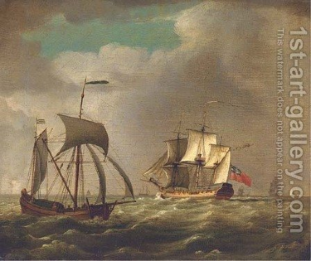 An outward-bound frigate by (after) John Thomas Serres - Reproduction Oil Painting