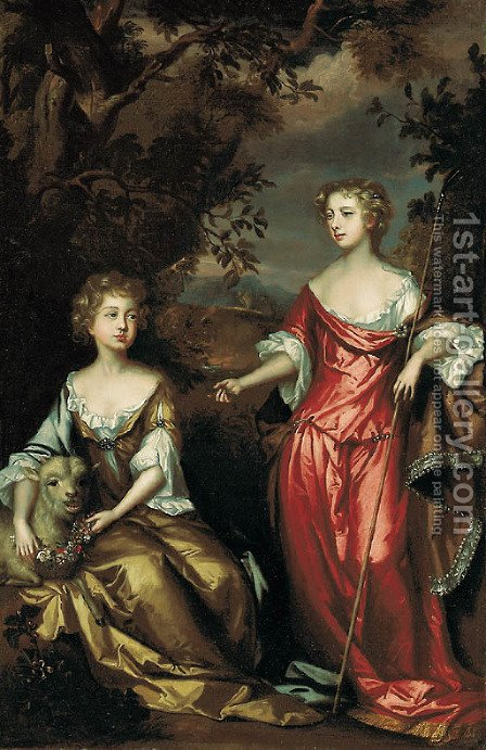 Portrait of two ladies of the Conyngham family by (after) John Vandervaart - Reproduction Oil Painting