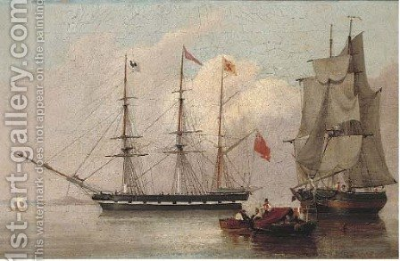 Drifting into harbour past an armed merchantman by (after) John Wilson Carmichael - Reproduction Oil Painting