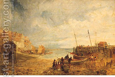 Fisherfolk Unloading The Catch In A Busy Harbour by (after) John Wright Oakes - Reproduction Oil Painting