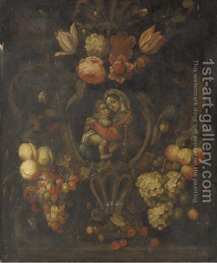 The Madonna and Child in a cartouche decorated by (after) Joris Van Son - Reproduction Oil Painting