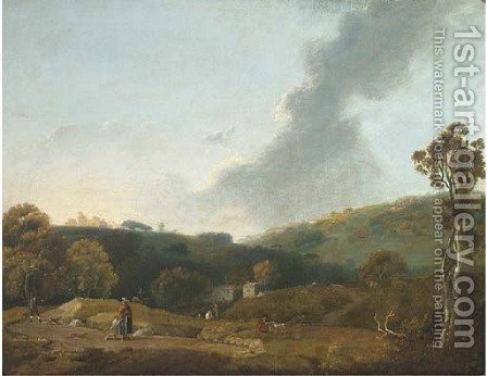 Figures in a landscape with a farmhouse beyond by (after) Joseph Browne - Reproduction Oil Painting