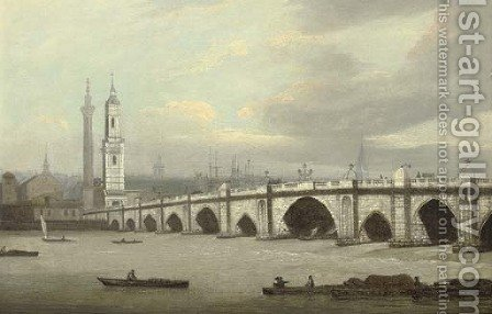 View of London Bridge, with the church of St. Magnus and the Monument beyond by (after) Farington, Joseph - Reproduction Oil Painting