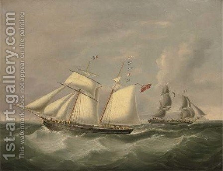 The topsail schooner Crescent passing the brig Jane off Holyhead by (after) Joseph Heard - Reproduction Oil Painting