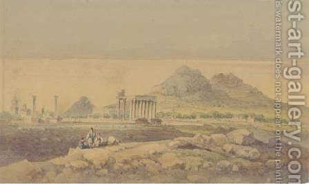 The Temple of Olympian Zeus, Athens by (after) Joseph Schranz - Reproduction Oil Painting