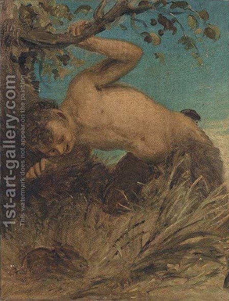 A satyr looking at a rabbit by (after) Joseph Arthur Palliser Severn - Reproduction Oil Painting