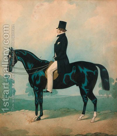 A gentleman seated on a black horse by (after) Joshua Dighton - Reproduction Oil Painting
