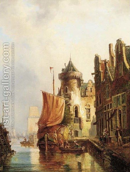 Dutch port by (after) Julius Huth - Reproduction Oil Painting
