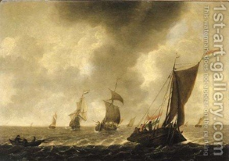 A wijdschip sailing before the wind with fishermen in a rowing boat, other shipping beyond, in choppy waters by (after) Jan Porcellis - Reproduction Oil Painting