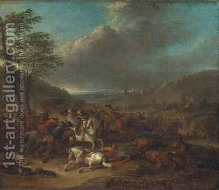 A cavalry battle between Christians and Turks by (after) Karel Breydel - Reproduction Oil Painting