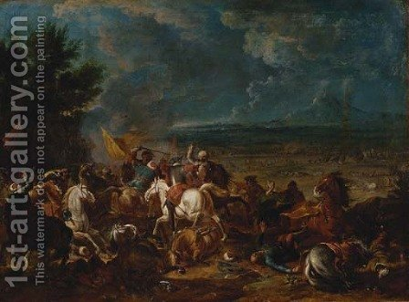 Christians engaging Turks, a military encampment beyond by (after) Karel Breydel - Reproduction Oil Painting