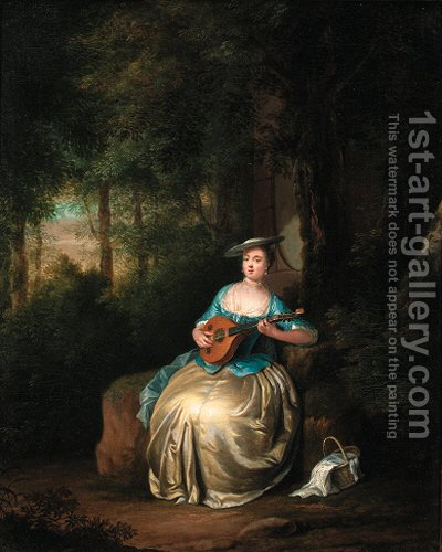 A lady playing a lute in a wood by (after) Anton Hickel - Reproduction Oil Painting