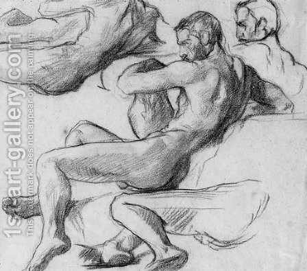 A reclining nude holding an urn, with subsidiary studies of his head, torso and legs by (after) Henri (Karl Ernest Rudolf Heinrich Salem) Lehmann - Reproduction Oil Painting