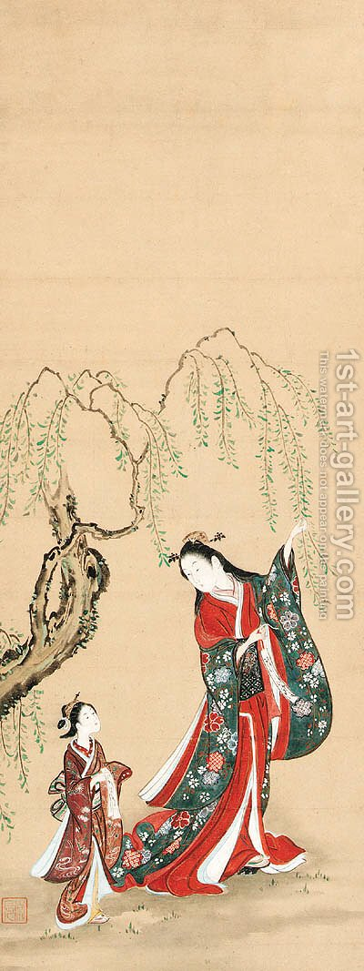 Courtesan hanging a poem slip on a willow branch by (after) Kawamata Tsunetatsu - Reproduction Oil Painting