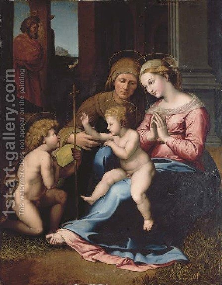 The Holy Family with the Infant Saint John the Baptist and Saint Elizabeth by (after) Leonardo Da Pistoia - Reproduction Oil Painting
