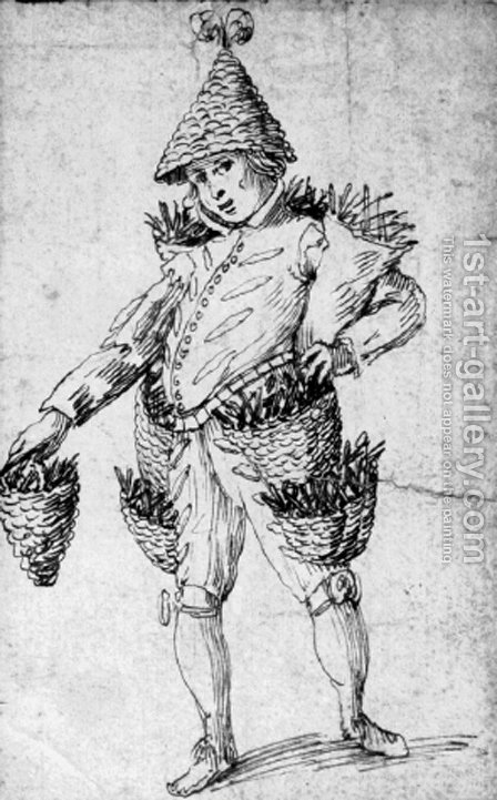 A street peddler Design for a costume by (after) Lionello Spada - Reproduction Oil Painting