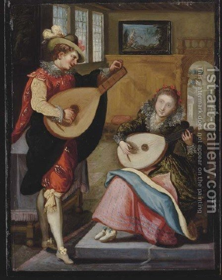 A couple playing the lute in an elegant interior by (after) Louis De Caullery - Reproduction Oil Painting