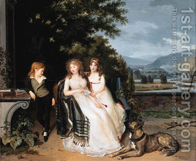 Portrait of a lady with two children and a dog on a terrace by (after) Louis Gauffie - Reproduction Oil Painting