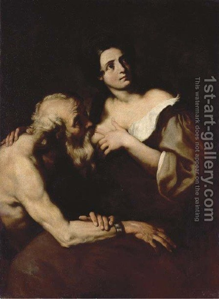 Roman Charity by (after) Luca Giordano - Reproduction Oil Painting