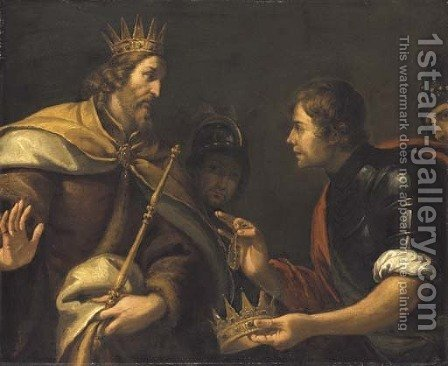 David presented with the crown and bracelet of Saul by (after) Luca Saltarello - Reproduction Oil Painting