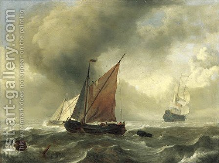 A smalschip in a squall, a Dutch frigate and other shipping beyond by (after) Ludolf Backhuizen - Reproduction Oil Painting