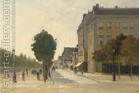 A Parisian boulevard by (after) Luigi Loir - Reproduction Oil Painting