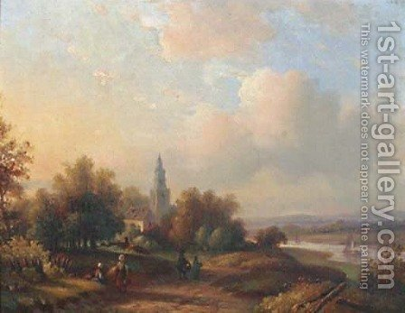 An extensive river landscape in summer by (after) Maarten Jun Bos - Reproduction Oil Painting