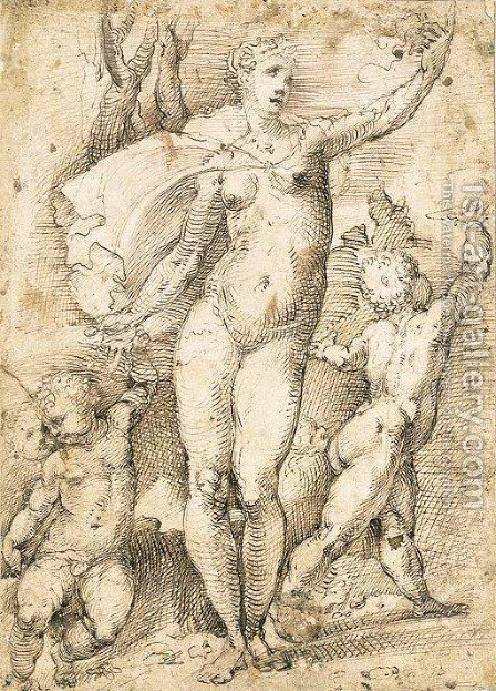 Charity A standing nude woman flanked by putti by (after) Marco Pino - Reproduction Oil Painting