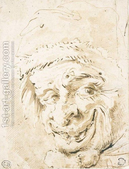 A grotesque head in a cap by (after) Marco Ricci - Reproduction Oil Painting
