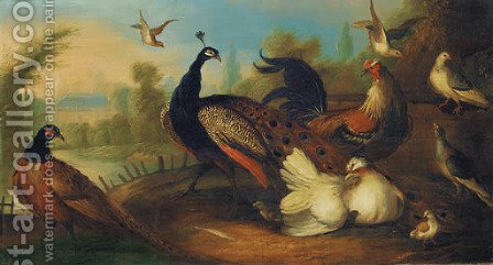 A peacock and other birds in an ornamental garden by (after) Marmaduke Cradock - Reproduction Oil Painting