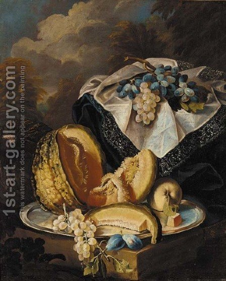 Grapes, melon, an apple and plums on a silver salver by (after) Maximilian Pfeiler - Reproduction Oil Painting