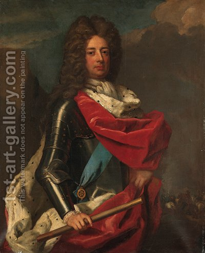 Portrait of John Churchill, 1st Duke of Marlborough (1650-1722), three-quarter-length, in armour with a red ermine trimmed robe by (after) Dahl, Michael - Reproduction Oil Painting