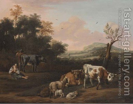 A drover, cattle and a shepherdess in an extensive landscape by (after) Michiel Carree - Reproduction Oil Painting