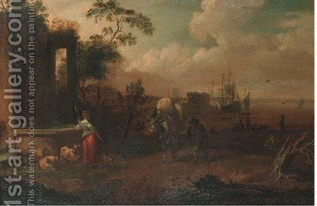 A Shepherdess and a muleteer by a wall, a harbour beyond by (after) Michiel Carree - Reproduction Oil Painting