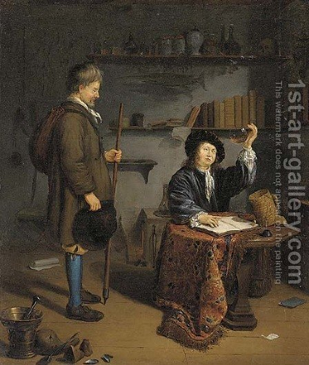 The Doctor's surgery by (after) Michiel Van Musscher - Reproduction Oil Painting