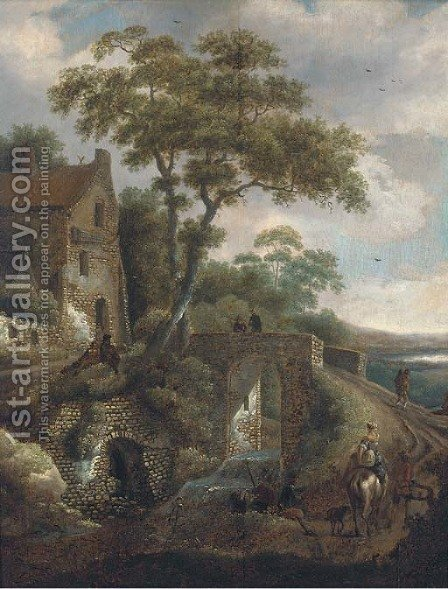 A wooded river landscape with travellers by a bridge by (after) Michiel Van Vries - Reproduction Oil Painting