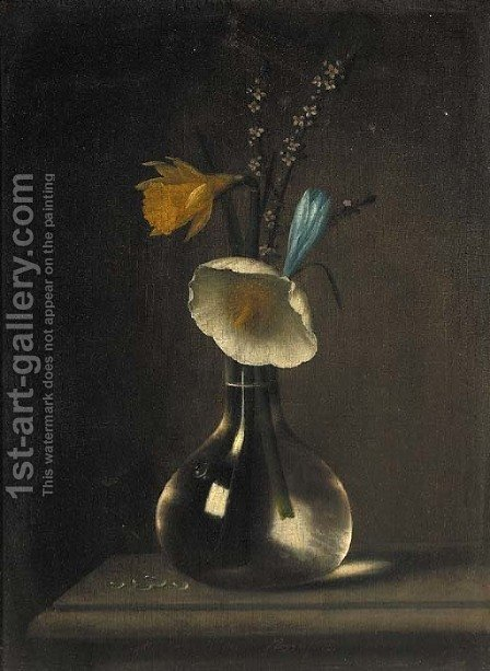 A daffodil, anenomie, crocus and blossom in a glass vase on a ledge by (after) Minheer Van Der Nigglefrigg - Reproduction Oil Painting