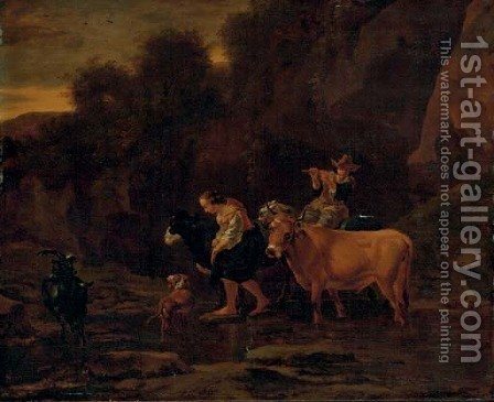 A shepherd and shepherdess with cattle in a landscape by (after) Nicolaes Berchem - Reproduction Oil Painting