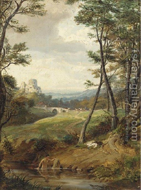 A bather in a wooded landscape, a castle beyond by (after) Patrick Nasmyth - Reproduction Oil Painting
