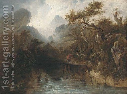 A figure crossing a gorge with an approaching storm beyond by (after) Patrick Nasmyth - Reproduction Oil Painting