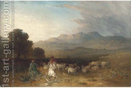 Arab figures with a flock of sheep in a landscape by (after) Paul H. Ellis - Reproduction Oil Painting