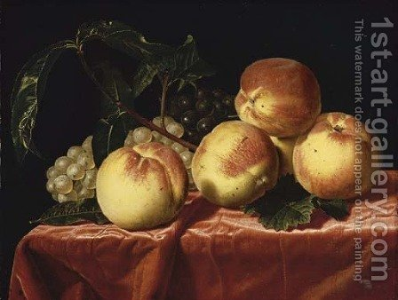 Peaches and grapes on a draped table by (after) Paul Liegeois - Reproduction Oil Painting