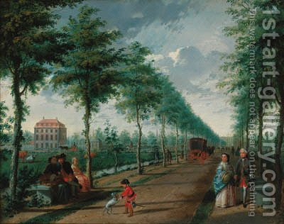 A view of The Hague with elegant figures walking in an avenue by (after) Paulus Constantin La Fargue - Reproduction Oil Painting